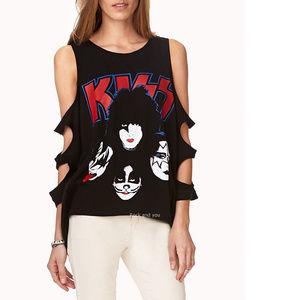 Kiss Band Logo Masks Tank Top Tee L NWT